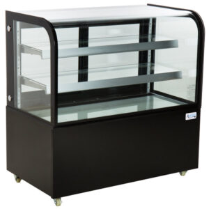 "Avantco BC-48-HC 48"" Curved Glass Black Refrigerated Bakery Display Case"
