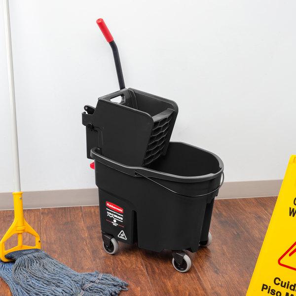 Black Mop Bucket with Side Press Wringer