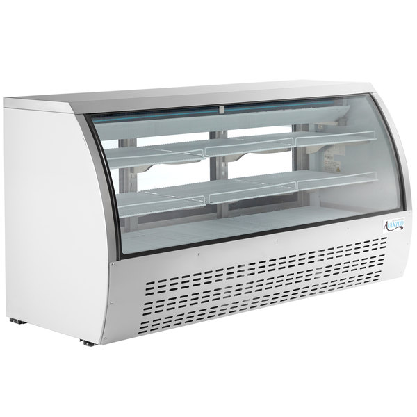 "Avantco DLC82-HC-W 82"" White Curved Glass Refrigerated Deli Case"
