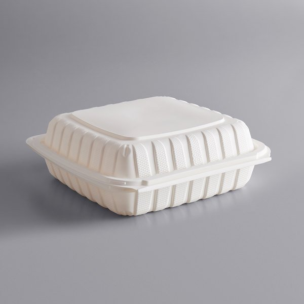 """Dart 90MFPPHT1 ProPlanet 9"""" x 8 13/16"""" x 3"""" White Mineral-Filled 1 Compartment Hinged Lid Takeout Container - 150/Case"""