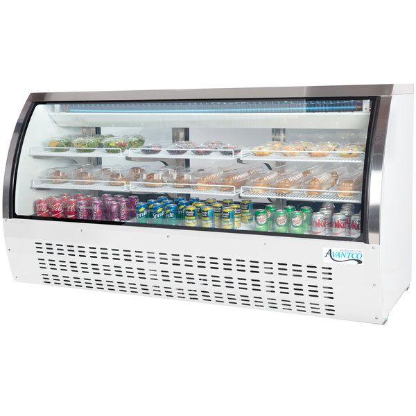 """Avantco DLC82-HC-W 82"""" White Curved Glass Refrigerated Deli Case"""