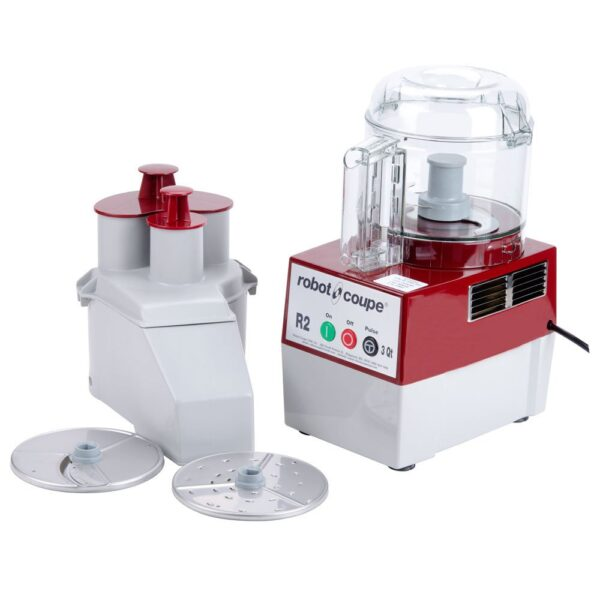 Robot Coupe R2NCLR Combination Continuous Feed Food Processor with 3 Qt. Clear Bowl - 1 hp